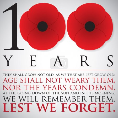 Remembrance/ ANZAC Day 100 years card in vector format.
