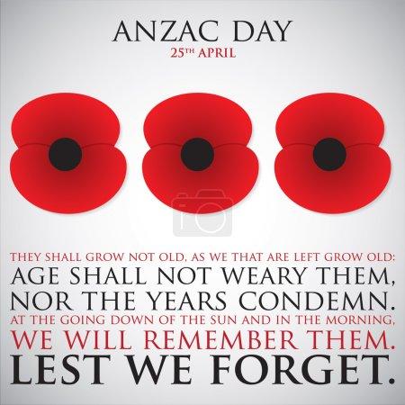 Illustration pour Carte de jour ANZAC (Australia New Zealand Army Corps) en format vectoriel . - image libre de droit