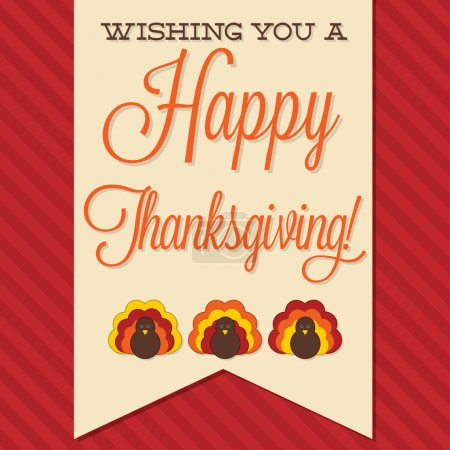 Illustration for Sash Happy Thanksgiving card in vector format. - Royalty Free Image