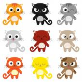 Set of 9 cartoon cats with various expressions