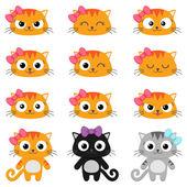 Vector cartoon cat emotions