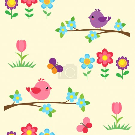 Illustration for Seamless vector pattern with birds on blooming branches and flowers - Royalty Free Image