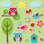 Cute vector set of different summer stickers Nature decorative elements for scrapbooking