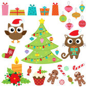 Christmas vector set with presents sweets tree ornaments owl and cat in costumes