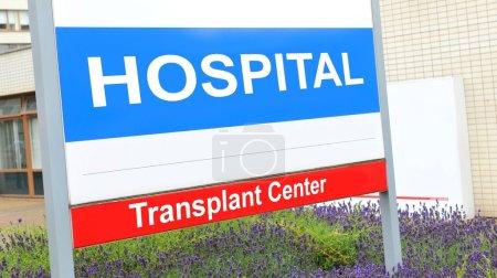 Photo pour Signe de centre de transplantation à l'hôpital - image libre de droit