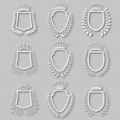 Set of vector laurel wreaths shields