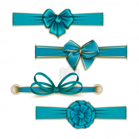 Illustration for Blue Silk color bows and ribbons set for design - Royalty Free Image