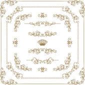 Set of gold decorative borders frame