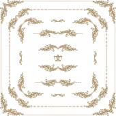 Vector set of gold decorative borders frame