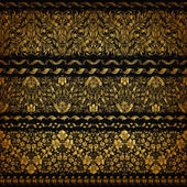 Set of horizontal golden lace pattern decorative elements borders for design Seamless floral ornament Page decoration Vector illustration EPS 10