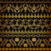 Set of horizontal golden lace pattern decorative elements borders for design Seamless hand-drawn floral ornament on black background Page web site decoration Vector illustration EPS 10