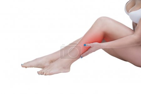 Pain in the calf muscle of the woman, massage of female feet, ache in the human body isolated on white background