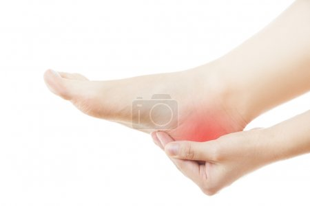 Pain in the foot. Massage of female feet. Pedicure...