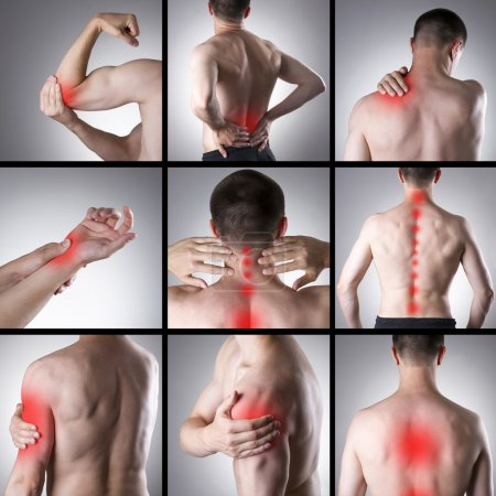 Photo for Pain in a man's body on a gray background. Collage of several photos with red dots - Royalty Free Image