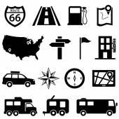 Road trip sada ikon