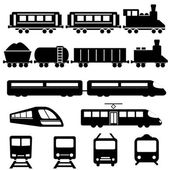 Train subway and railway transportation icon set