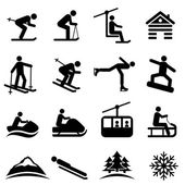 Ski snow and winter icon set