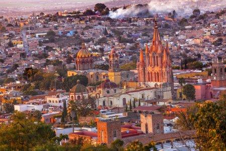 San Miguel de Allende Mexico Miramar Overlook Evening Parroquia