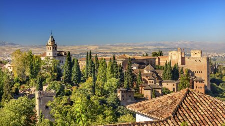Alhambra Castle Towers Cityscape Churchs Granada Andalusia Spain
