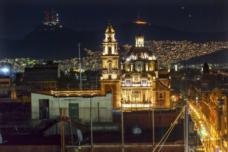 Plaza de Santa Domingo Chruches Zocalo Mexico City Christmas Nig