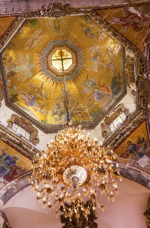 Dome Chandelier Mosaics Old Basilica Guadalupe Mexico City Mexic