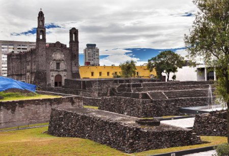 Photo for Plaza of the Three Cultures, Plaza de las Tres Culturas, Ancient Aztec City of Tlatelolco, where Aztecs staged last battle against Cortez in Mexico City, Mexico. Sacred Spot of the Aztecs that later become the site of one of the oldest churche - Royalty Free Image
