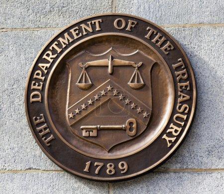Photo pour Symbole actuel de signe de sceau de bronze Département du Trésor américain adopté en 1968. Ce sceau est utilisé depuis 1968 jusqu'à nos jours. . - image libre de droit
