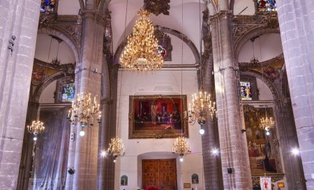 Chandeliers Mosaics Old Basilica Guadalupe Mexico City Mexico