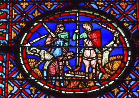 Knights Peasants Stained Glass Sainte Chapelle Paris France