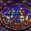 Knights Peasants Field Medieval Life Stained Glass...