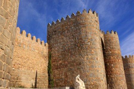 White Saint Teresa Statue Avila Castle Walls Swallows Castile Sp