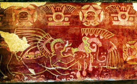 Ancient Painting Drinking Tequila Mural Wall Indian Ruins Teotih