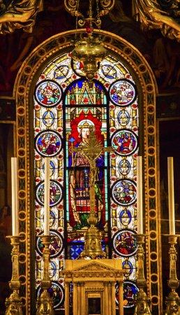 Altar King Louis 9th Stained Glass Saint Louis En L'ile Church Paris France