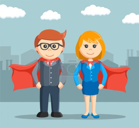 Illustration for Businessman and businesswoman that super - Royalty Free Image