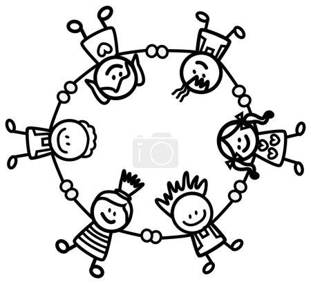 Illustration pour Enfants tenant la main - image libre de droit