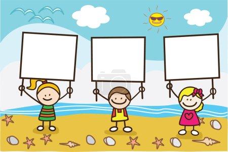 Happy kids holding banner when summer beach