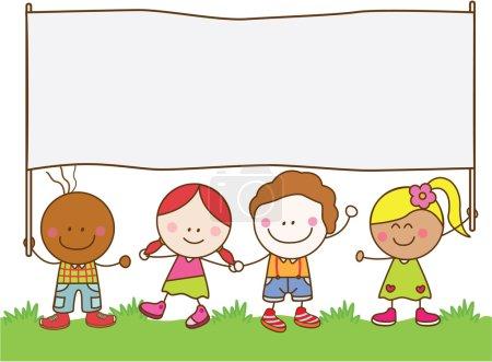 Illustration for Kids holding banner at park - Royalty Free Image