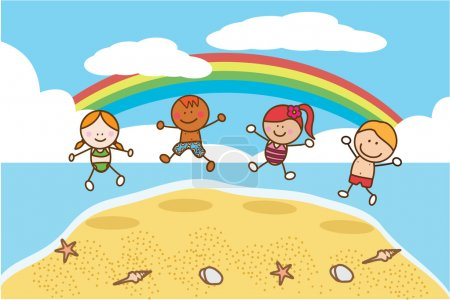 Happy kids jumping at Beach