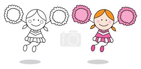 Cheerleader girl coloring page