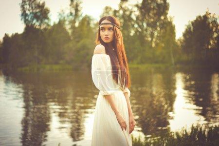 Outdoors fashion  photo of beautiful bohemian lady...