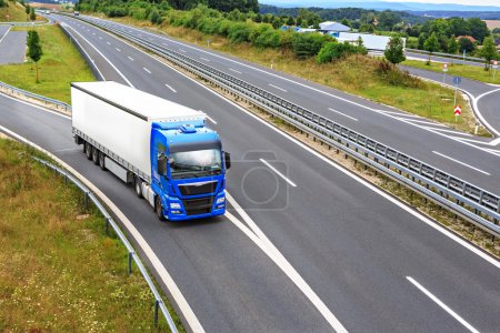 Photo for The stretch of motorway with a cargo truck - Royalty Free Image