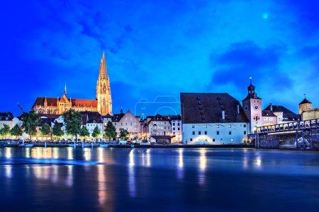 Regensburg town at night