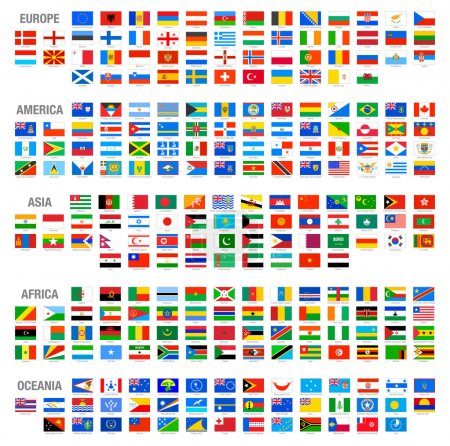 Illustration for All Vector World Country Flags at High Detail Divided by Continents - Royalty Free Image