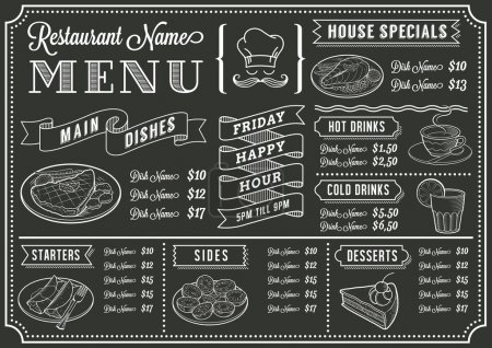 Illustration for A full vector template Chalkboard menu - Royalty Free Image