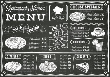 Illustration for A full vector template Chalkboard menu for restaurant and snack bars with grunge elements - Royalty Free Image
