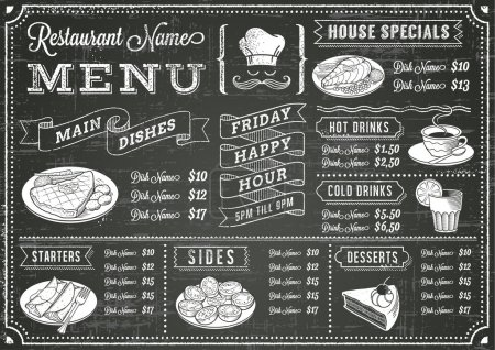 Illustration for A full vector template Chalkboard menu for restaurant and snack bars with grunge elements. File is organized with layers for ease of use. - Royalty Free Image