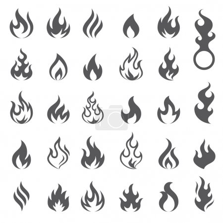 Illustration for Big set of 29 flame and fire vector icons. Vector file is fully layered - Royalty Free Image
