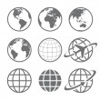 Set of nine simple Earth globe icons. Vector file is layered.