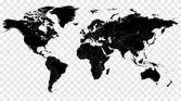 Hi Detail Black Vector Political World Map illustration