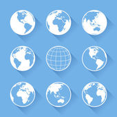 Set of nine vector globe icons with four views of the earth with great detail